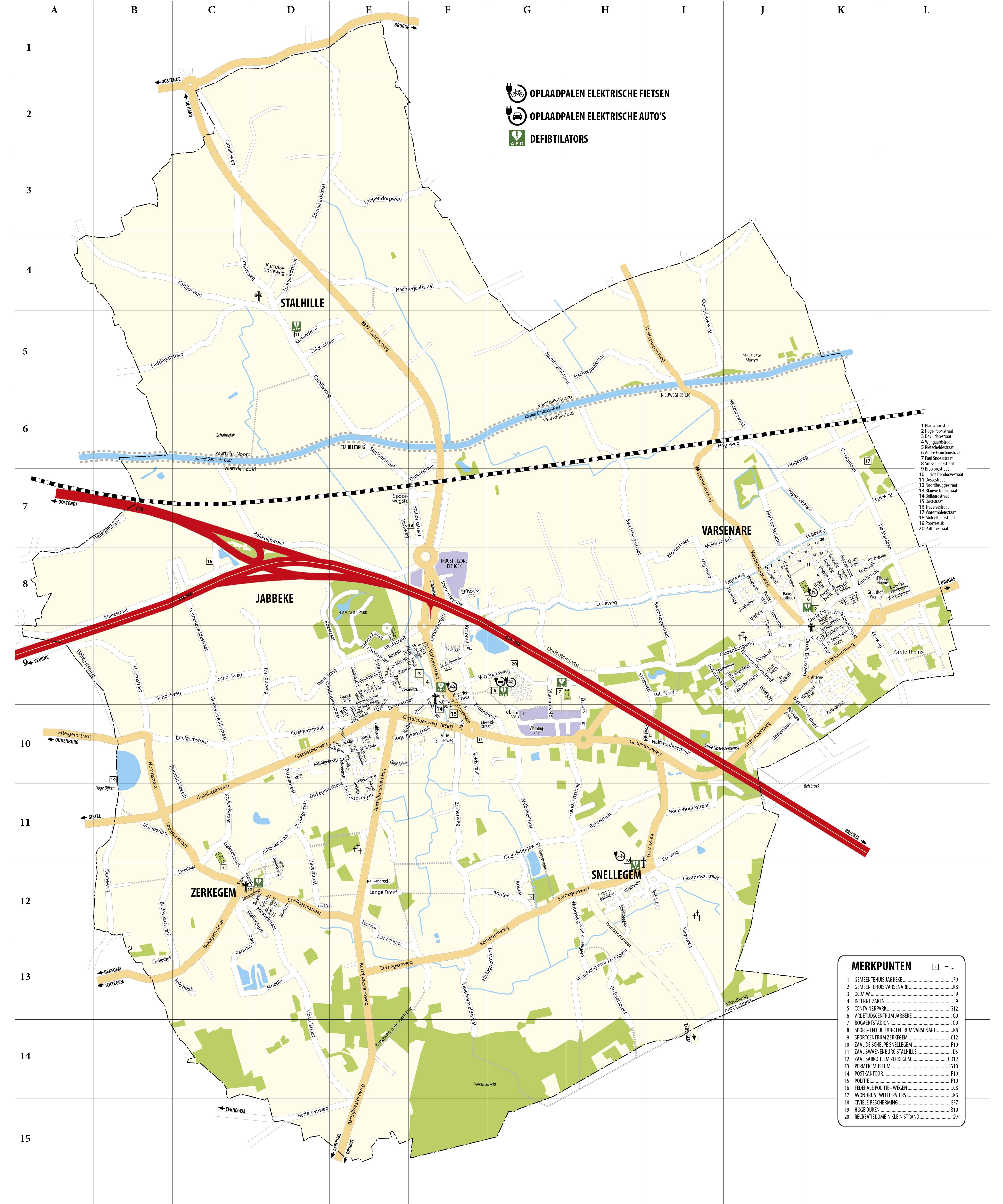 stratenplan gemeente Jabbeke